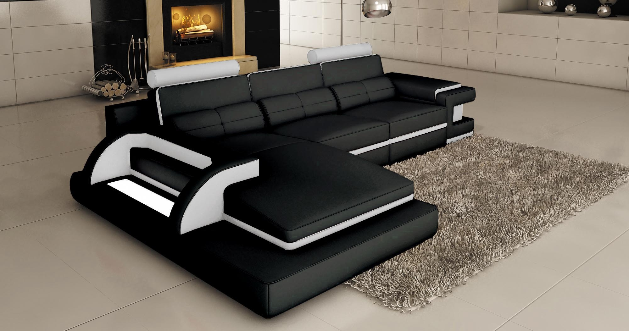Canap d angle cuir noir royal sofa id e de canap et for Meuble de canape