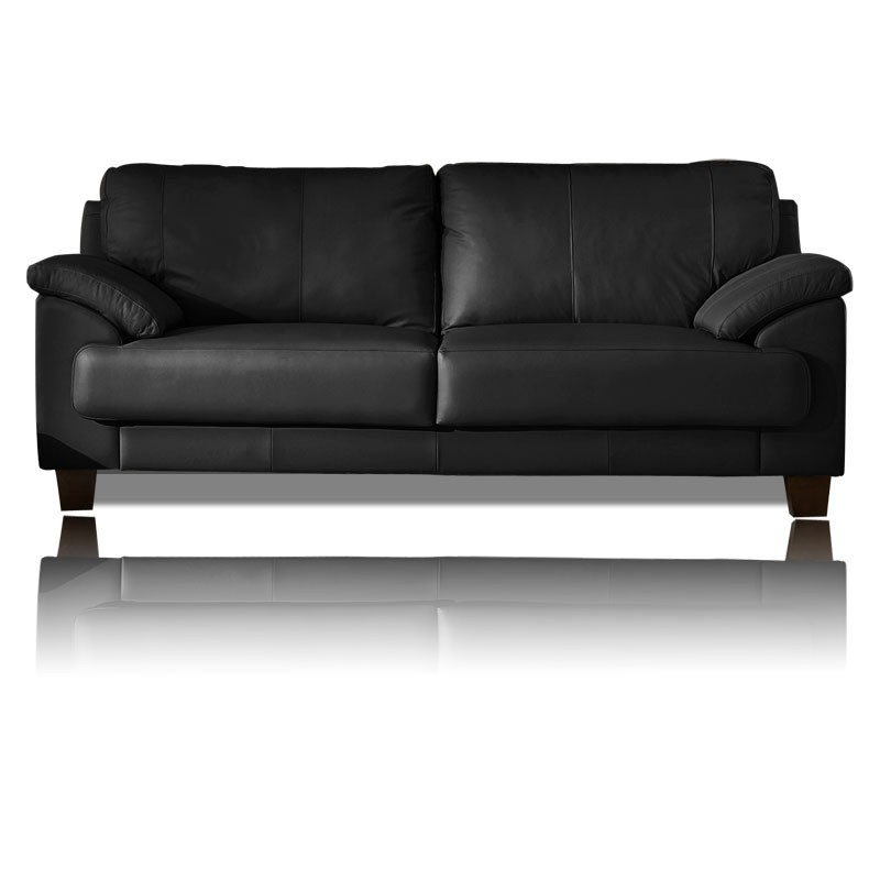 Canap cuir noir 3 places royal sofa - Canape cuir de qualite ...
