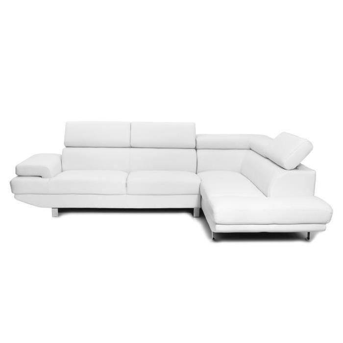 Canape cuir blanc angle royal sofa - Canape convertible reversible pas cher ...