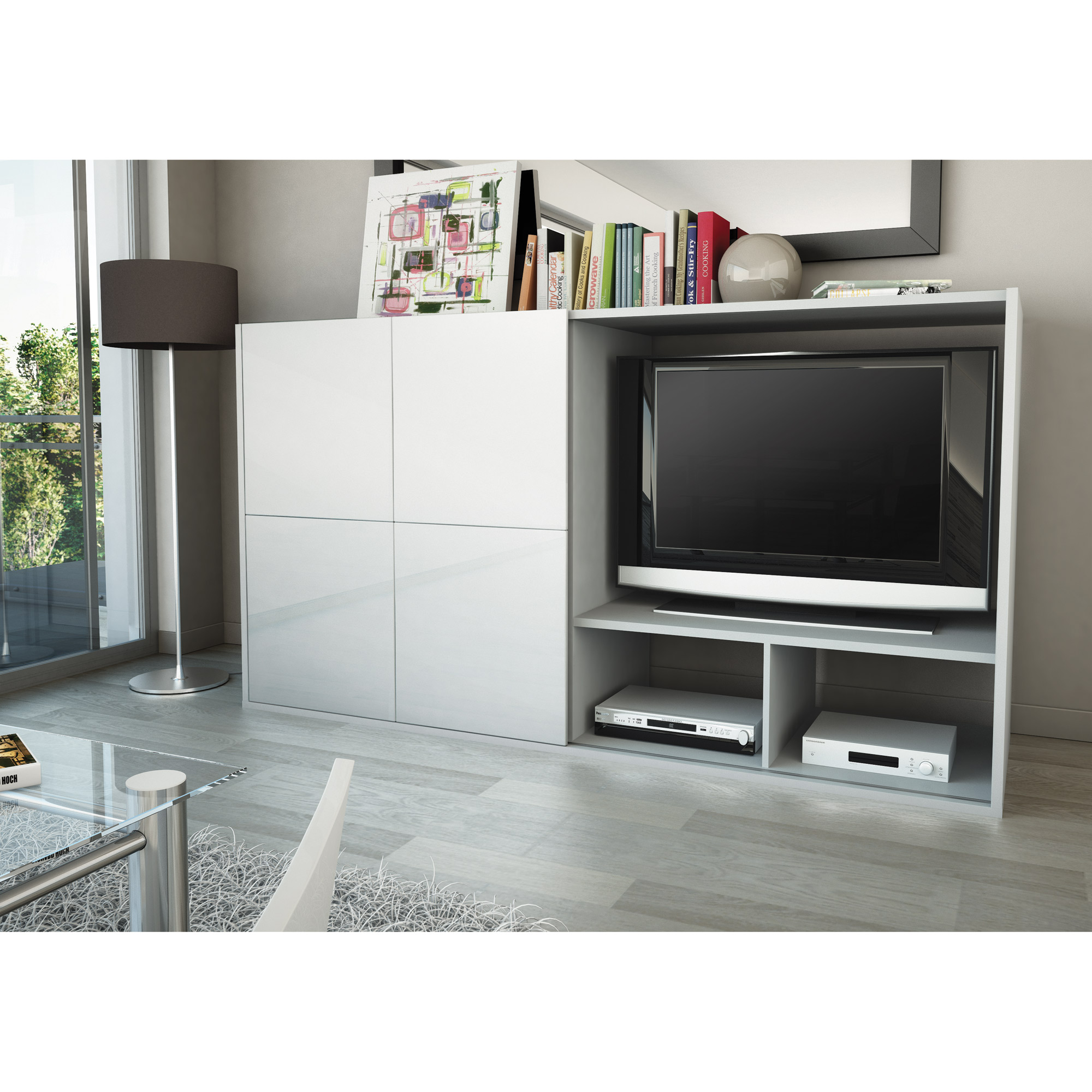 stunning meuble tv cache ideas. Black Bedroom Furniture Sets. Home Design Ideas