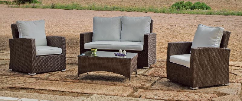 Salon de jardin tress marron royal sofa id e de for Canape de jardin tresse