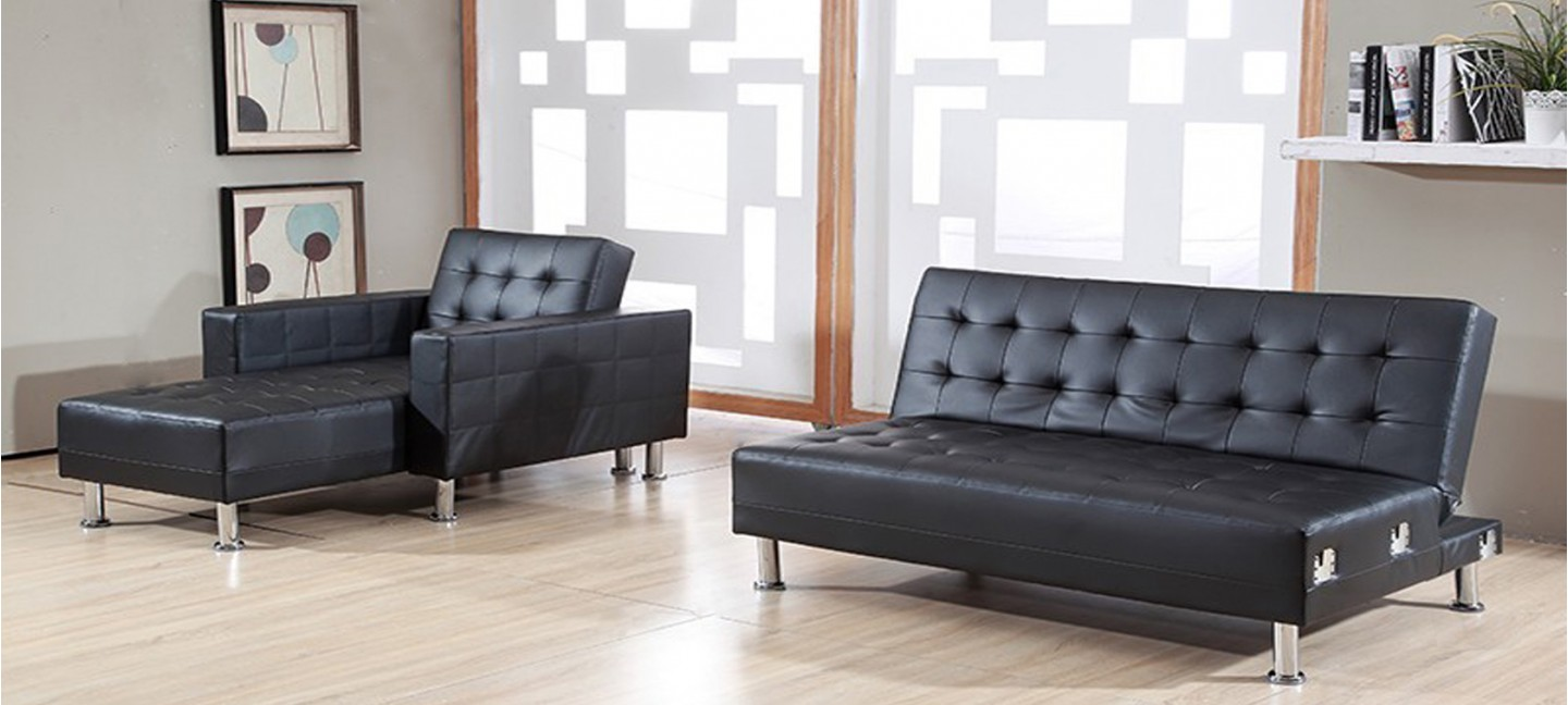 Canap convertible noir simili cuir royal sofa id e de - Meuble dos de canape ...