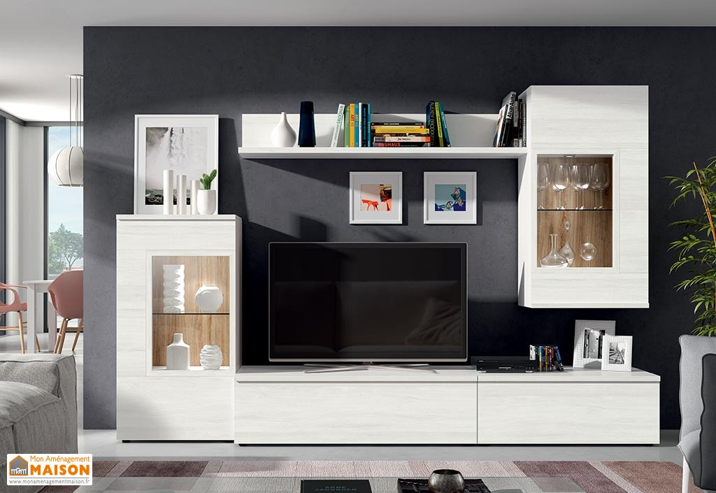 Ensemble meuble tv royal sofa for Meuble tv avec etagere