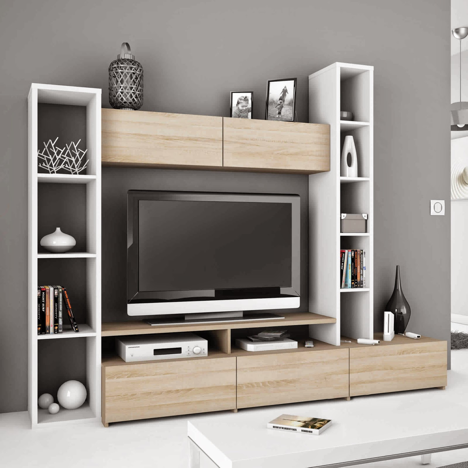 meuble tv conforama noir et blanc free meuble tv avec fixation integree comment cacher les fils. Black Bedroom Furniture Sets. Home Design Ideas