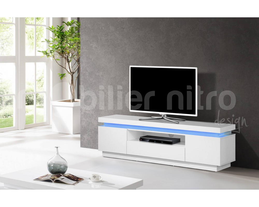 Meuble Tv Blanc Laqu Fly Excellent Superb Meuble Tv Blanc Laqu  # Meuble Tv A Led Avec Baffle