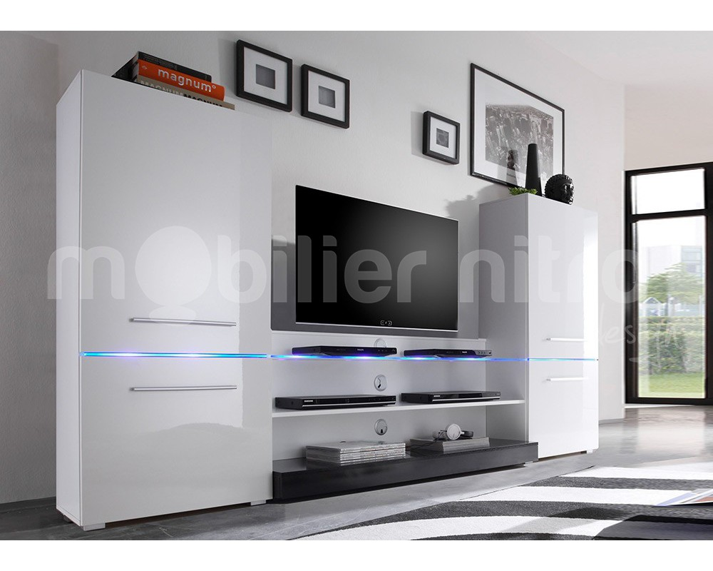 Grand Meuble Tv Blanc Meuble Tv Grand Modele Sola Blanc Grand  # Meuble Living Blanc Laque Brillant