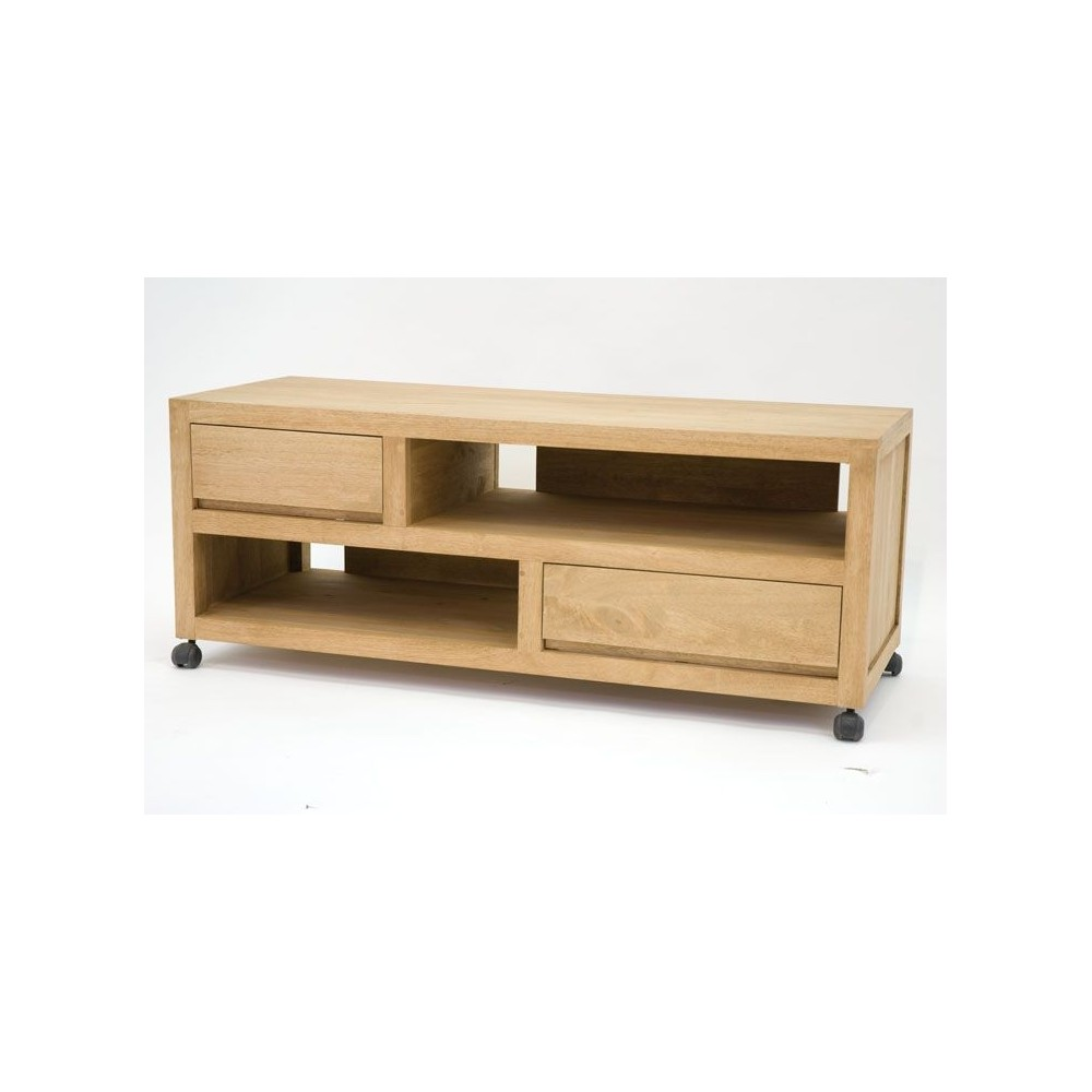 meuble 90 cm longueur meuble tv bas en bois avec niches. Black Bedroom Furniture Sets. Home Design Ideas