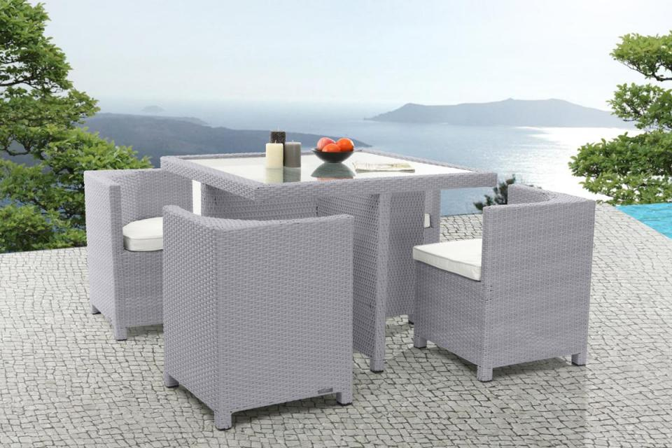 salon de jardin 4 places en r sine tress e samoa gris. Black Bedroom Furniture Sets. Home Design Ideas
