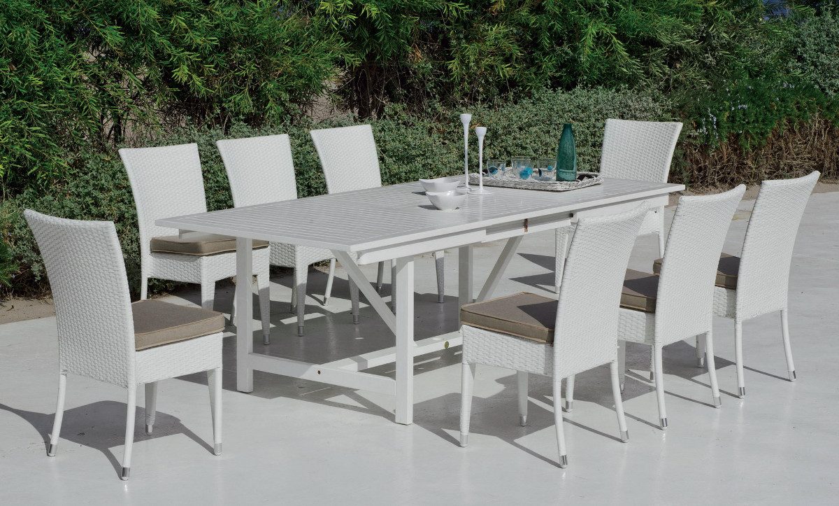 Emejing grande table de jardin en verre gallery design for Table extensible noir et blanc
