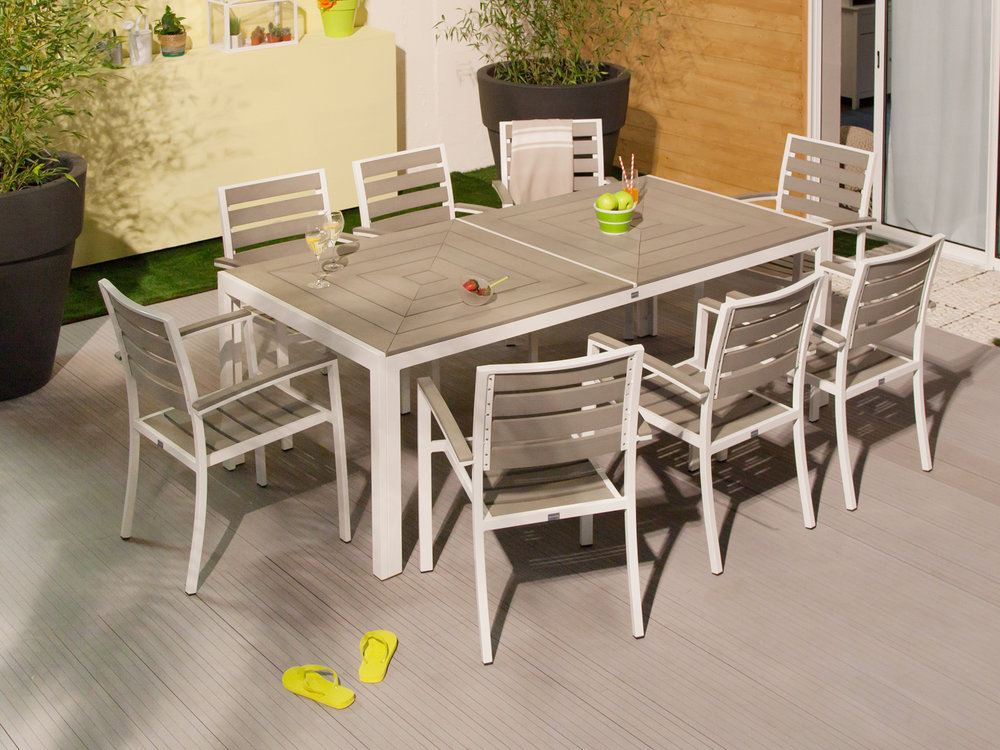 Salon De Jardin Aluminium 1 Table 8 Fauteuils Royal