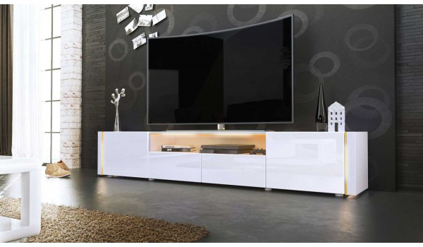 Long meuble tele royal sofa id e de canap et meuble for Meuble bas tv blanc