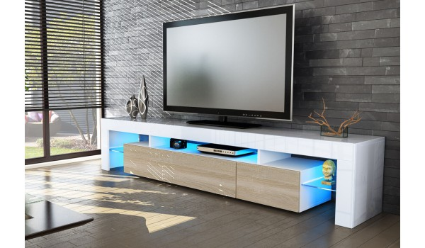 meuble tv bois et blanc laqu royal sofa id e de canap et meuble maison. Black Bedroom Furniture Sets. Home Design Ideas
