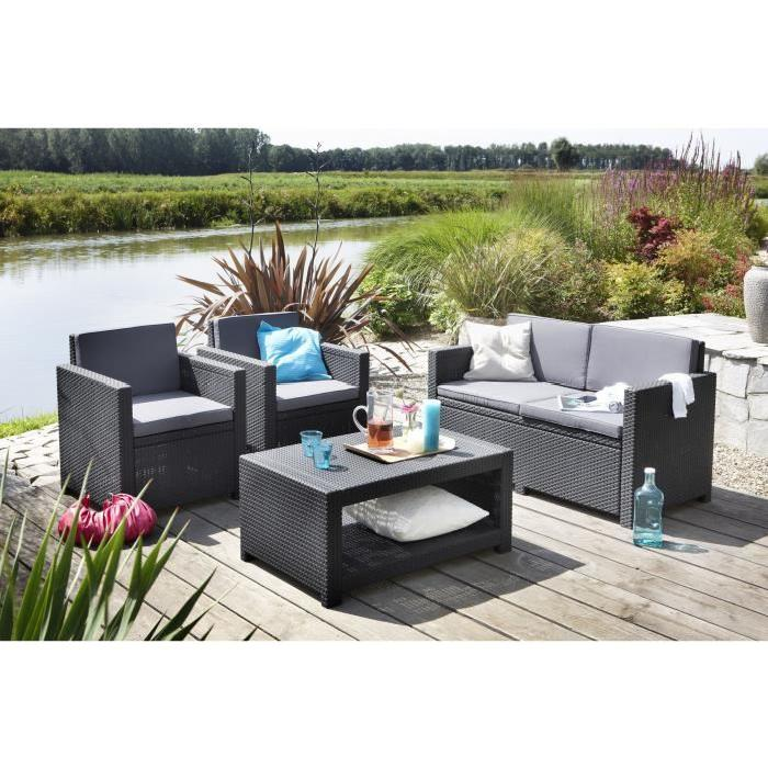 Salon de jardin 4 pieces allibert royal sofa id e de for Salon de jardin 6 places
